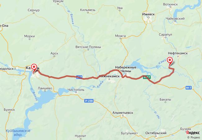 Маршрут Казань - Агидель