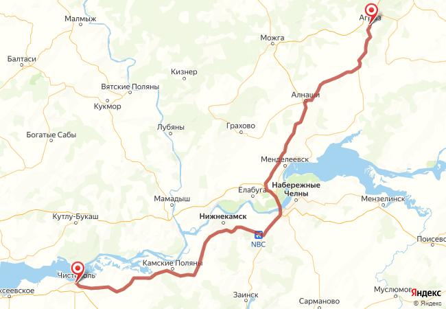 Маршрут Чистополь - Агрыз
