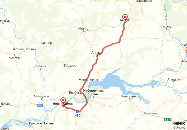 Маршрут Нижнекамск - Агрыз