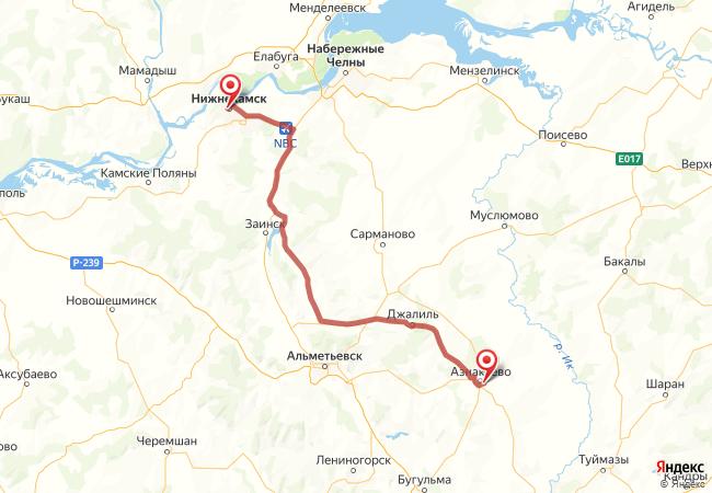 Маршрут Нижнекамск - Азнакаево