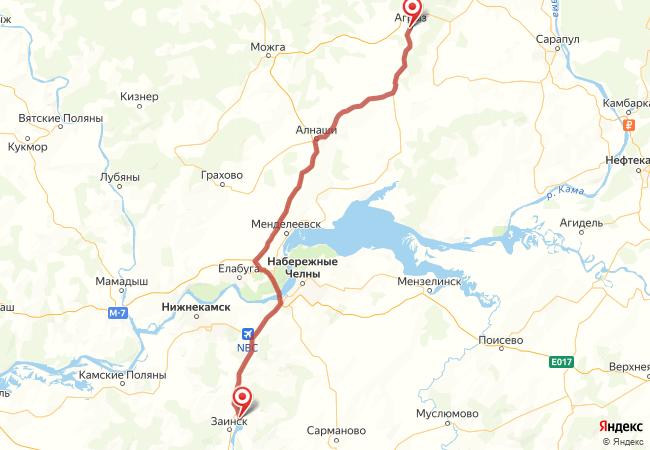 Маршрут Заинск - Агрыз