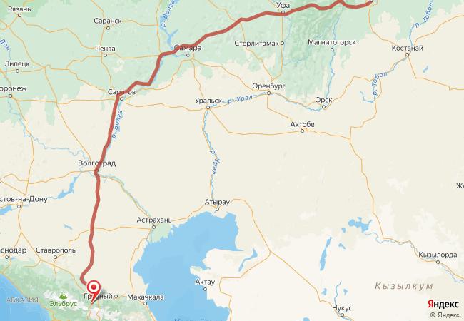 Маршрут Челябинск - Алагир