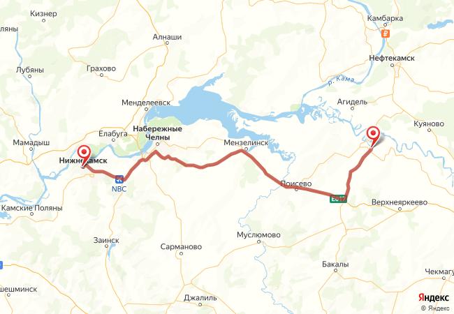 Маршрут Нижнекамск - Актаныш