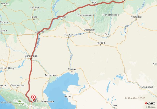 Маршрут Челябинск - Али-юрт