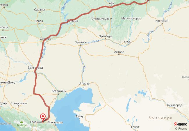 Маршрут Челябинск - Алхан-кала