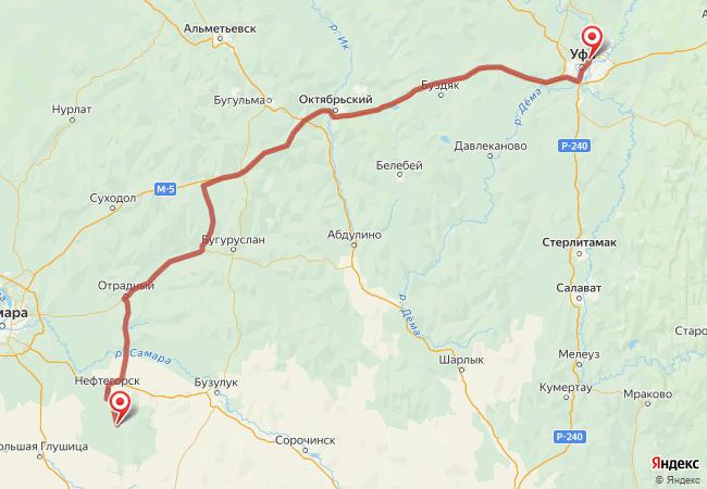Маршрут Уфа - Алексеевка
