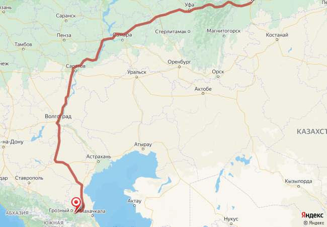 Маршрут Челябинск - Автуры