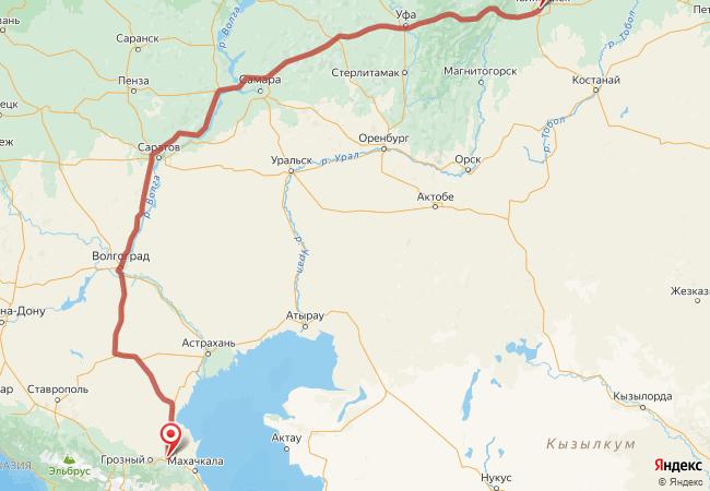 Маршрут Челябинск - Аксай