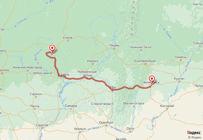 Маршрут Челябинск - Андрияхи