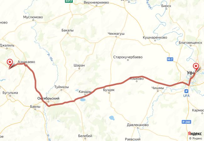 Маршрут Уфа - Актюбинский