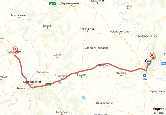 Маршрут Уфа - Азнакаево