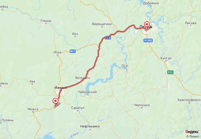 Маршрут Пермь - Агрыз