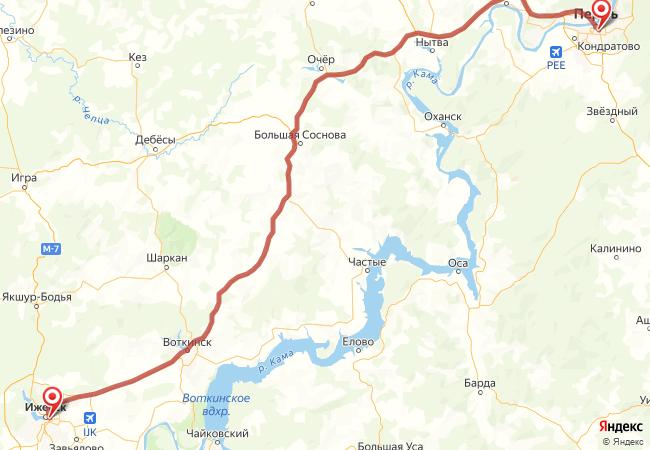 Маршрут Пермь - Ижевск