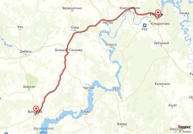 Маршрут Пермь - Воткинск
