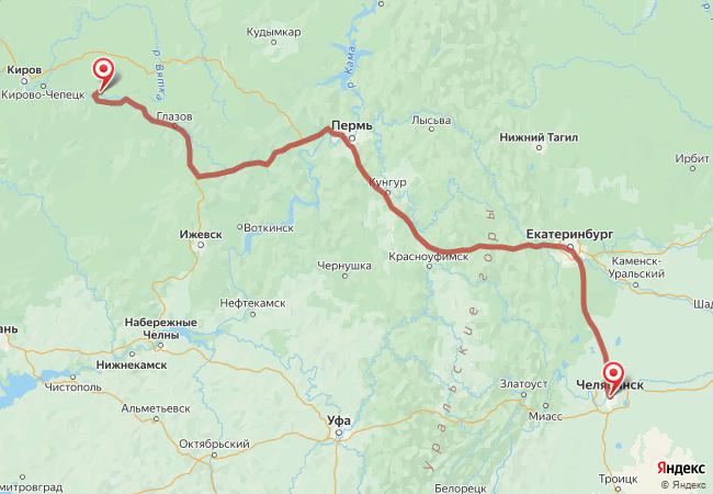 Маршрут Челябинск - Абросенки