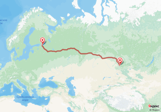 Маршрут Санкт-Петербург - Алтайское