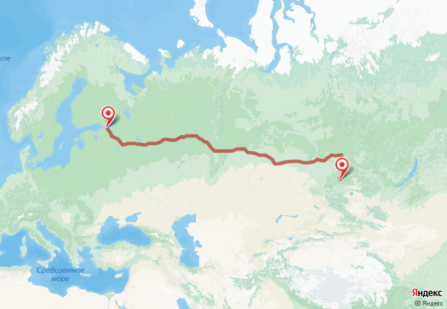 Маршрут Санкт-Петербург - Абаза