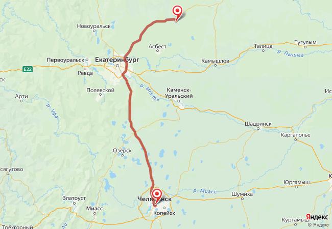 Маршрут Челябинск - Артемовский