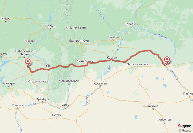 Маршрут Омск - Актюбинский