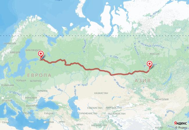 Маршрут Санкт-Петербург - Абан