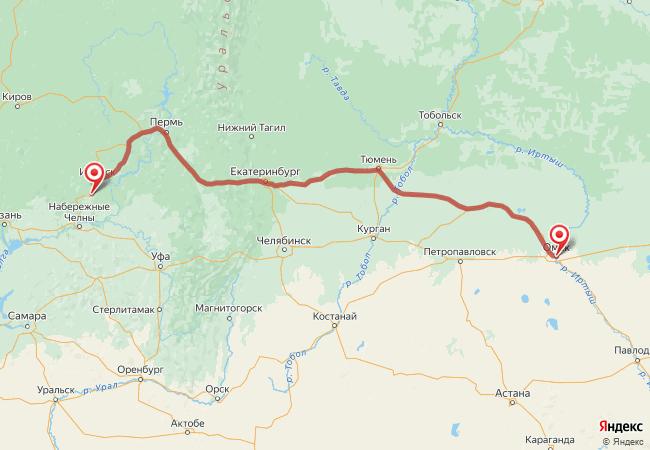 Маршрут Омск - Агрыз