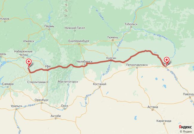 Маршрут Омск - Азнакаево
