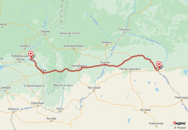 Маршрут Омск - Агидель