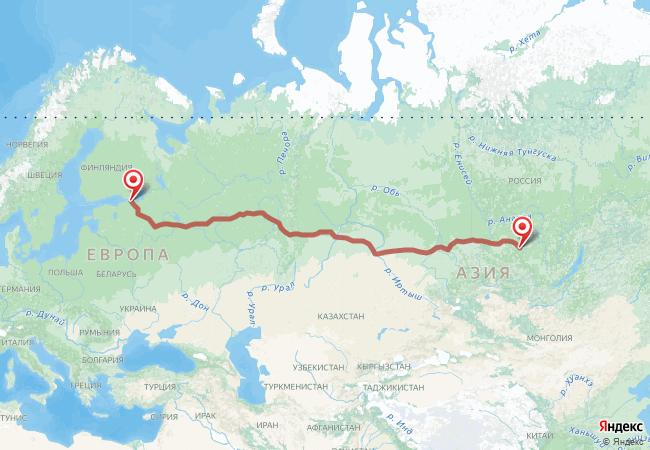 Маршрут Санкт-Петербург - Алзамай