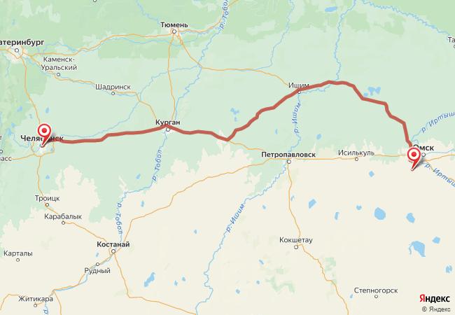 Маршрут Челябинск - Азово