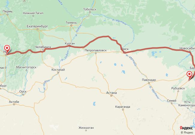 Маршрут Уфа - Алейск