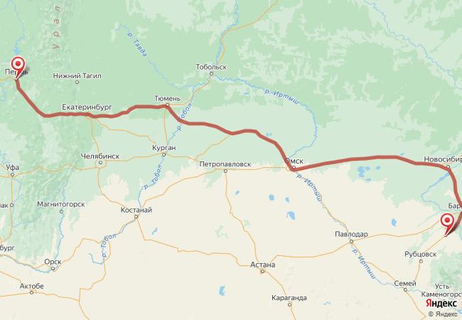 Маршрут Пермь - Алейск