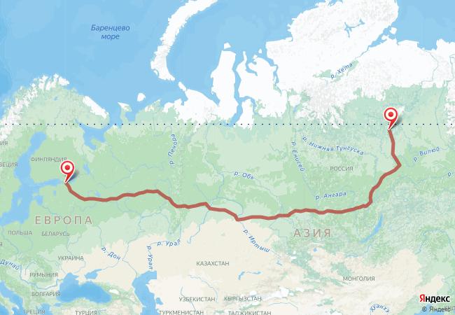 Маршрут Санкт-Петербург - Айхал