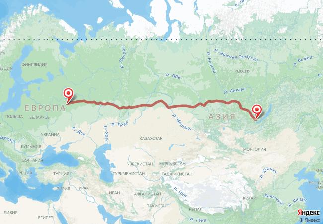 Маршрут Москва - Иркутск