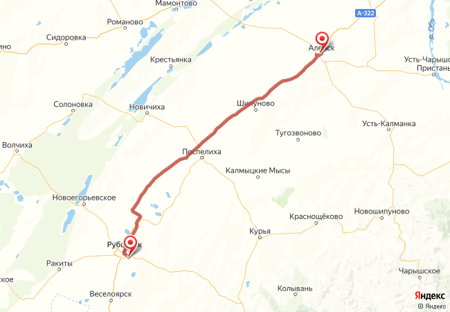 Маршрут Рубцовск - Алейск