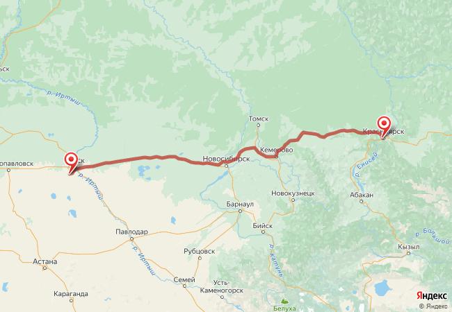 Маршрут Красноярск - Азово