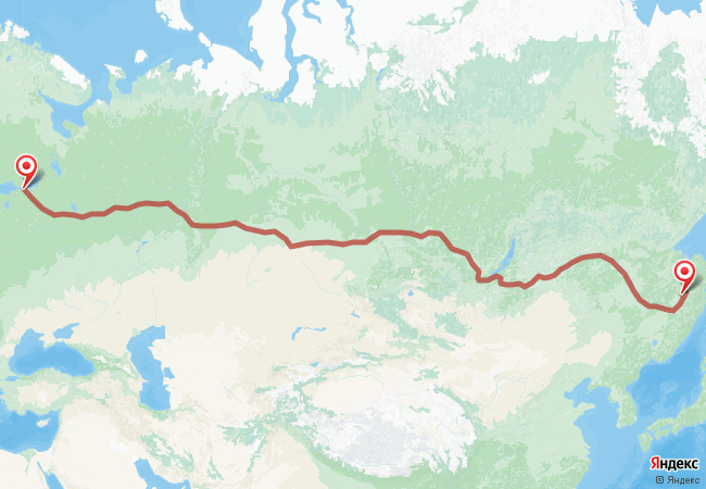 Маршрут Санкт-Петербург - Амурск