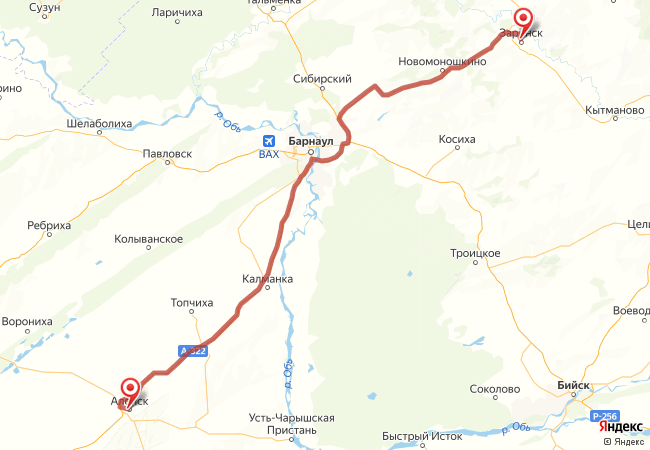 Маршрут Заринск - Алейск