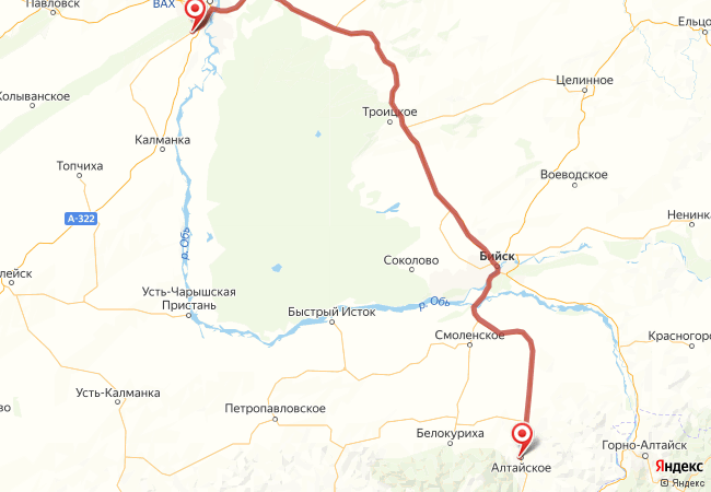 Маршрут Южный - Алтайское