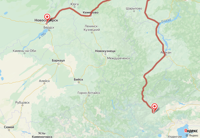Маршрут Новосибирск - Ак-довурак