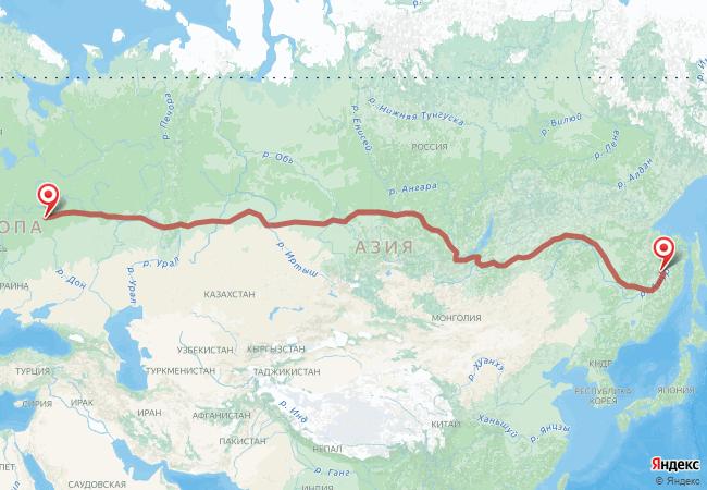 Маршрут Комсомольск-на-Амуре - Москва