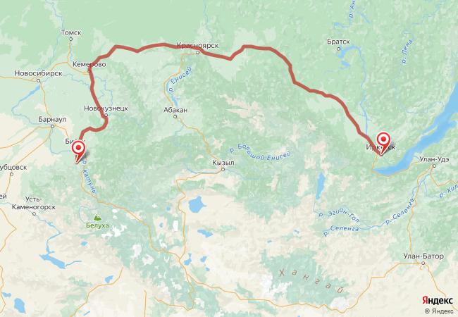 Маршрут Иркутск - Алтайское