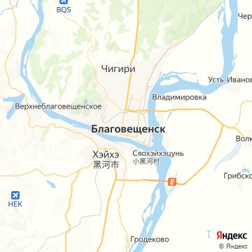Карта Благовещенска