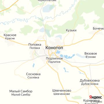 Карта Конотопа