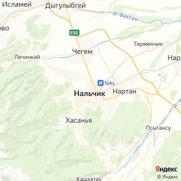 Карта Нальчика