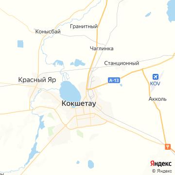 Карта Кокшетау