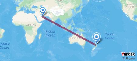 DOH - AKL Itinerariu de zbor