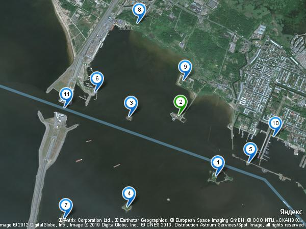 Южные форты Кронштадта: вид со спутника
