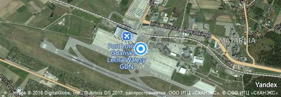 Aéroport de Gdańsk-Lech Wałęsa- carte