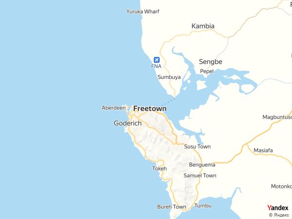 خريطة  فريتاون ، جمهورية سيراليون