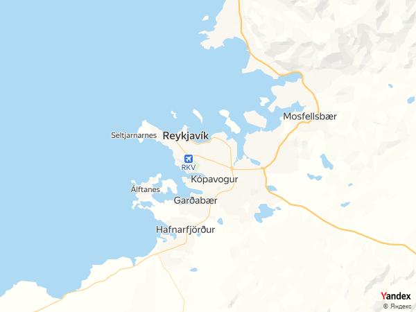 خريطة  ريكيافيك ، جمهورية آيسلندا